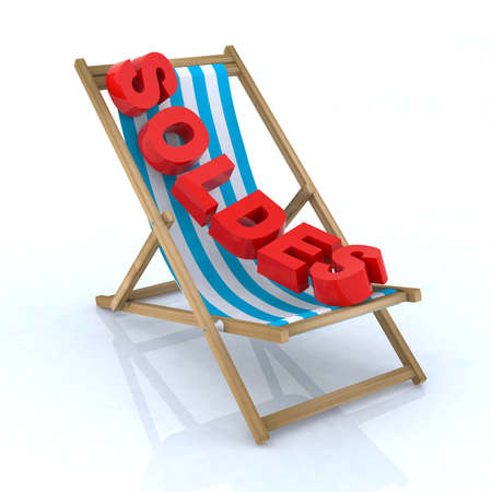 beach chair with soldes written 3d illustration