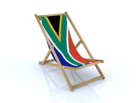 wood desk chair with south africa flag 3d illustration Stock Illustration - 9516958