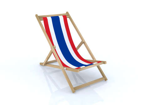 wood desk chair with thailand flag 3d illustration Stock Illustration - 9516947