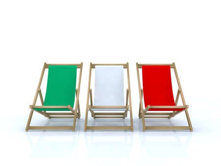 wood desk chairs italian flag 3d illustration illustration