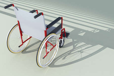 physical impairment: wheelchair in front of stairs 3d illustration