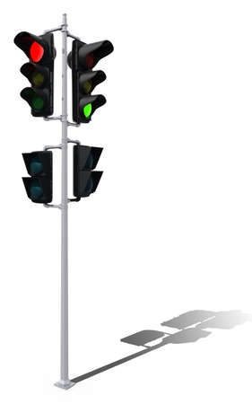traffic lights 3d illustration with shadow illustration