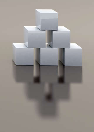 concrete blocks: six white box 3d illustration