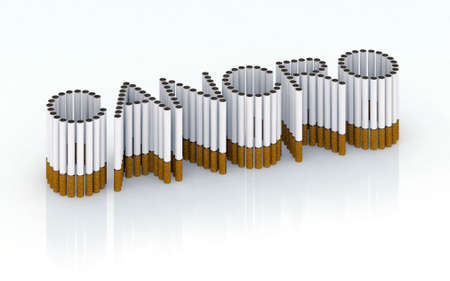 addictive: Written cancer(cancro)  with cigarettes 3d illustration