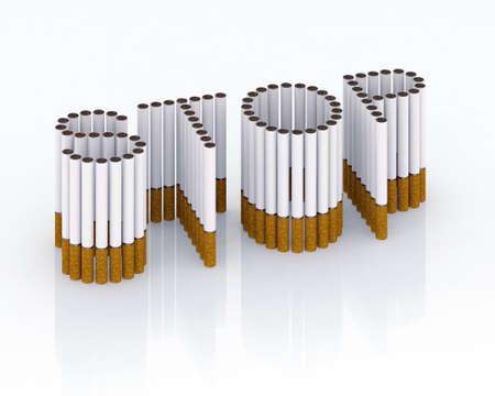 willpower: Scritto stop con illustrazione 3d di sigarette, si prega di interrompere glam, ora!