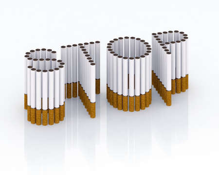 Written stop with cigarettes 3d illustration, please stop smocking, now!