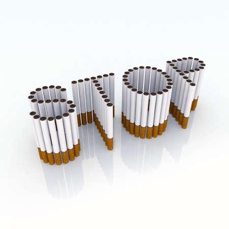 smoke: Geschreven stop met sigaretten 3d illustratie, stop dan Smockwerk, nu!