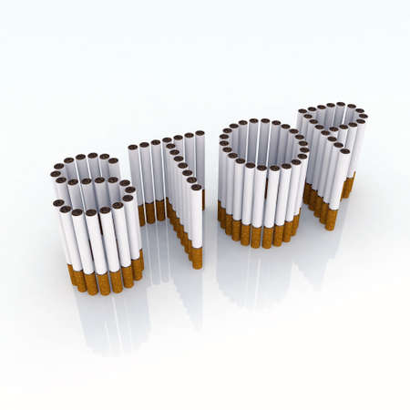 cancerous: Written stop with cigarettes 3d illustration, please stop smocking, now!