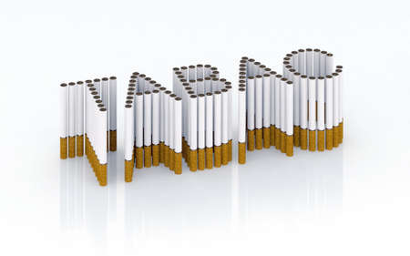 Written tabac with cigarettes 3d illustration illustration
