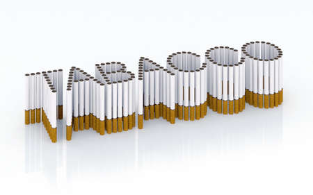 Written tabacco with cigarettes 3d illustration illustration