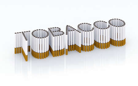 Written tobacco with cigarettes 3d illustration Stock Photo