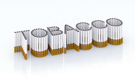 Written tobacco with cigarettes 3d illustration illustration