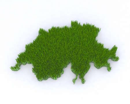 helvetica: green switzerland with grass, 3d illustration