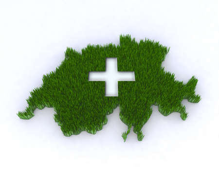 green switzerland with grass and white cross, 3d illustration Stock Illustration - 9517032
