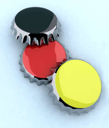 blackredyellow (german flag) metal cap 3d illustration illustration