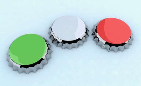 greenwhitered (italian flag) metal cap 3d illustration illustration