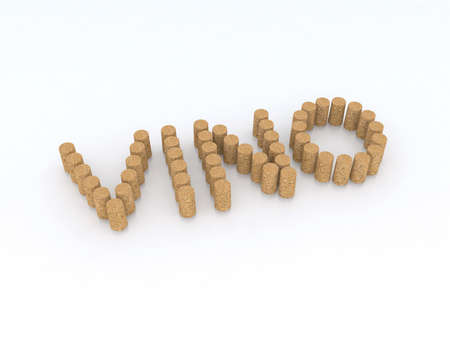 vino: written vino (wine) with corks 3d illustration
