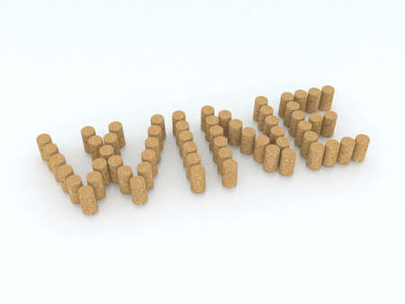 bung: written wine with corks 3d illustration Stock Photo