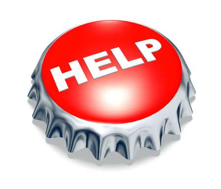 red metal cap help 3d illustration Stock Illustration - 9517433
