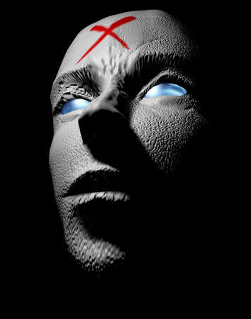 monster face: horror monster face 3d illustration Stock Photo
