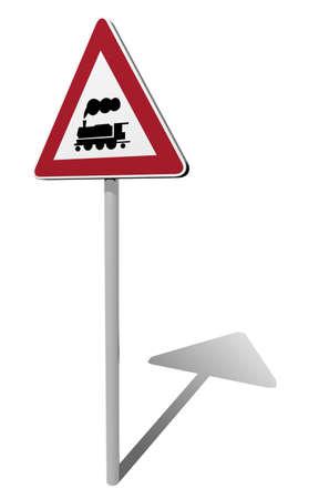 traffic sign rail crossing 3d illustration illustration