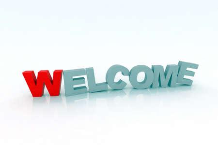 de bienvenida: Bienvenido ilustraci�n 3d Foto de archivo