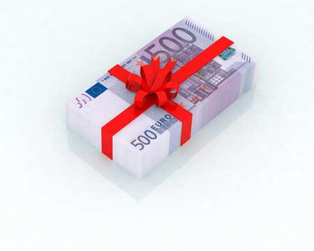 christmas profits: euro gift 3d illustration