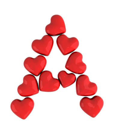 letter a with red hearts photo