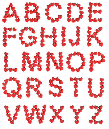 glazed: alphabet letters with red hearts