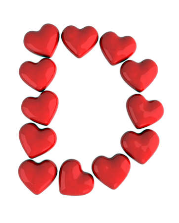 letter d with red hearts photo