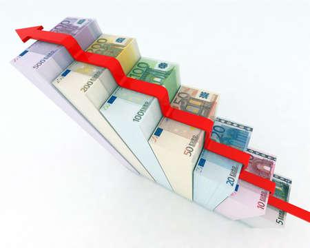 climbing euro banknotes