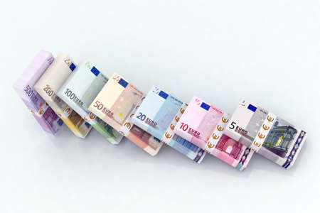 buying questions: euro bank notes Stock Photo