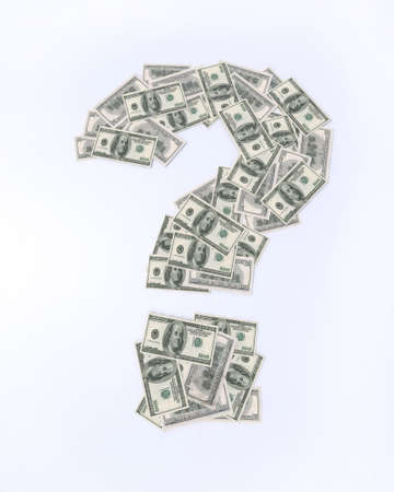 financial questions: question mark with dollar banknotes, 3d illustration Stock Photo
