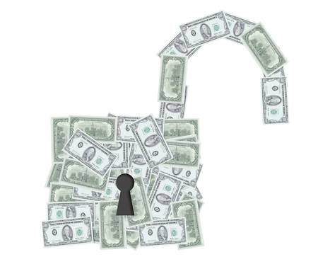 open padlock with dollar notes 3d illustration  illustration