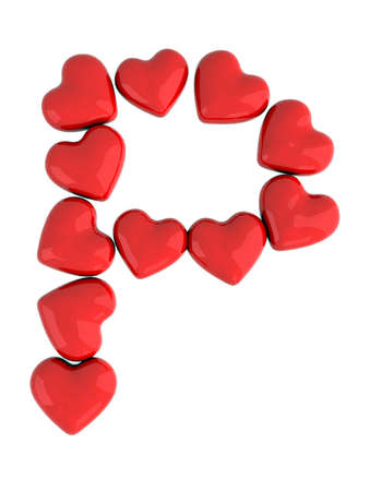 letter p with red hearts photo