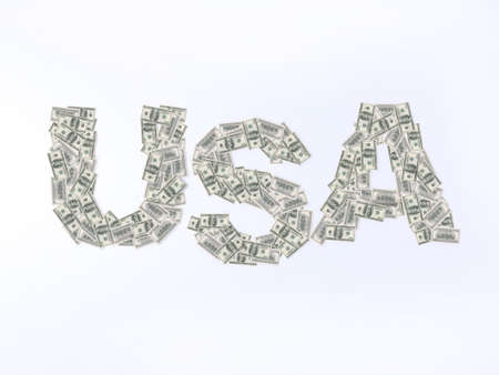 usa writing with U.S. dollar banknotes photo