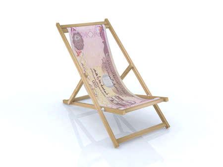 wood desk chair with dirham united arab emirates banknote 3d illustration illustration