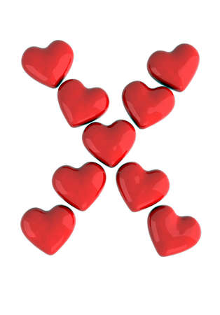red x: letter x with red hearts