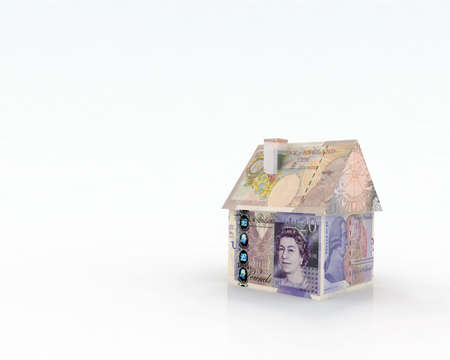 house exchange: house pounds banknotes 3d illustration