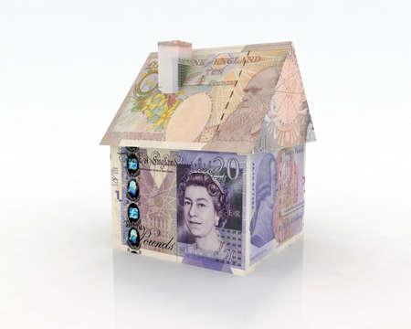 pounds money: libras casa de los billetes de banco 3d ilustraci�n