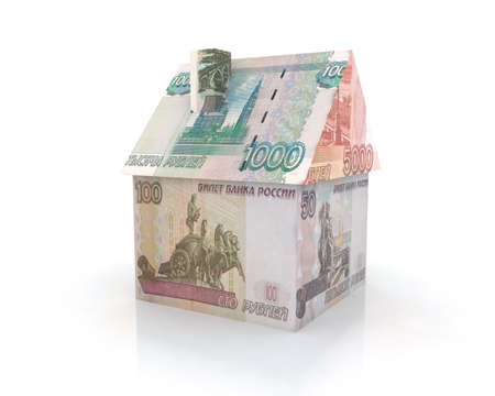 house exchange: house, built with ruble banknote 3d illustration