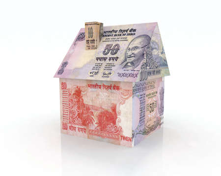indian money: house rupee banknotes 3d illustration