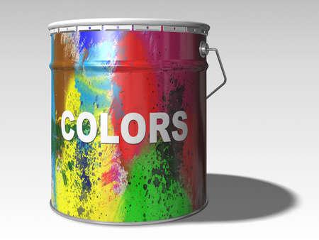 paint color bin 3d illustration illustration
