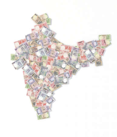 rupee: india map with rupee banknotes 3d illustration