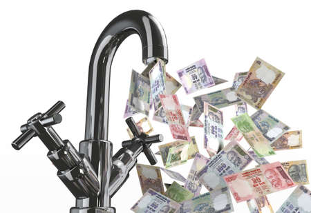 indian money: tap water with rupee banknotes 3d illustration