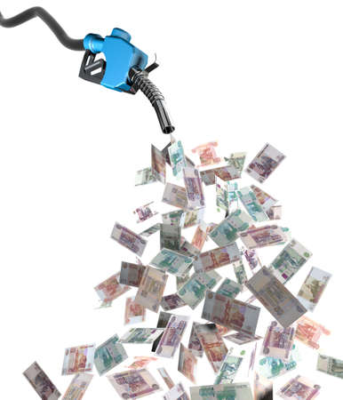 fuel economy: gas nozzle with ruble banknotes 3d illustration