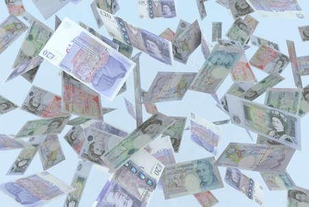 falling banknotes pounds rain 3d illustration illustration