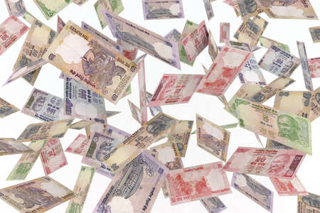 rupee: falling banknotes rupee rain 3d illustration Stock Photo