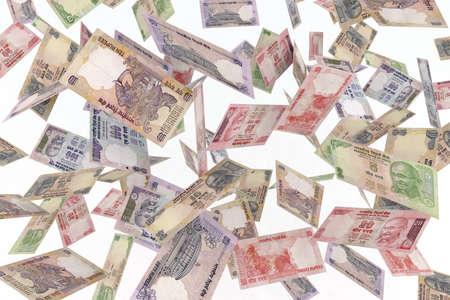 bollywood: vallende bankbiljetten rupee regen 3d illustratie