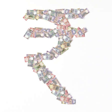 rupee: rupee symbol with bank notes 3d illustration